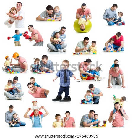 Babies and kids collage  with dads. Paternity and fatherhood concept. Isolated on white. - stock photo