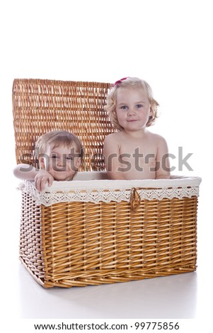 babies in basket on white background