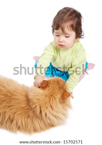 Baby and cat isolated on white - stock photo