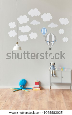 Baby And Child Grey Room With Cloud And Parachute Pattern Style. White Lamp  Concept And