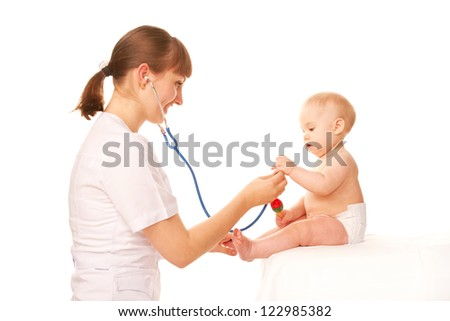 Baby and doctor. Isolated on white background.