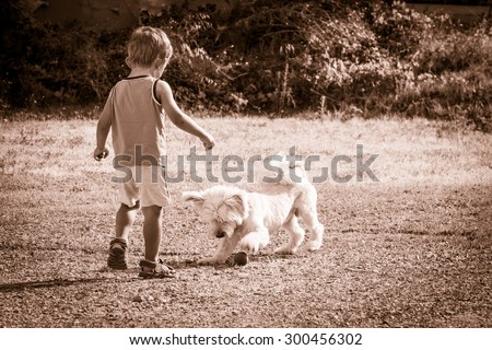 Baby and dog playing together - stock photo