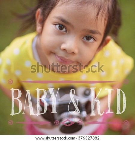 baby and kid quote on cute girl photo vintage color tone