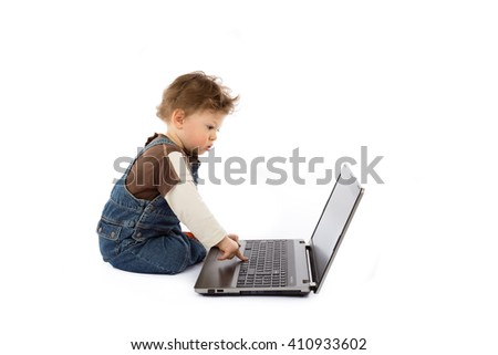 baby and laptop - stock photo