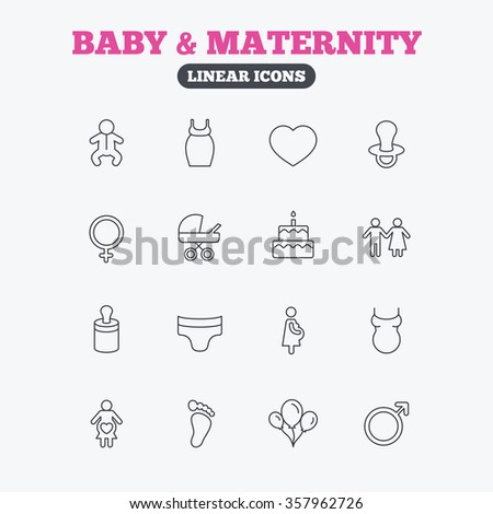Baby and Maternity icons. Toddler, diapers and child footprint symbols. Heart, birthday cake and pacifier thin outline signs. Pregnant woman, couple and air balloons. Linear icons on white background. - stock photo