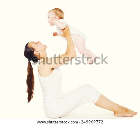 Baby and mother doing exercises - stock photo