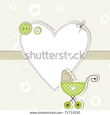 Baby arrival card - stock photo
