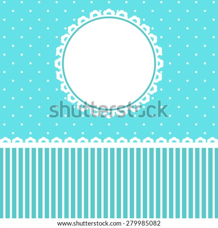 Baby Arrival Card with blue floral Frame.  - stock photo