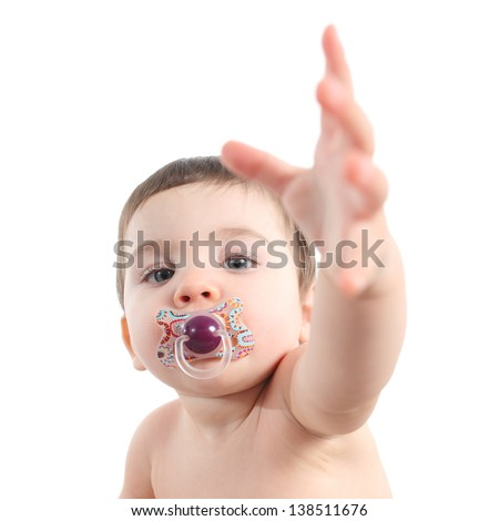 Baby asking for attention isolated on a white background - stock photo