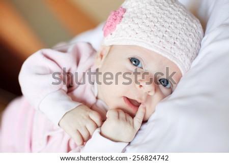 Baby at home. Newborn lying - stock photo
