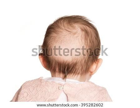 baby bald patch studio cutout - stock photo
