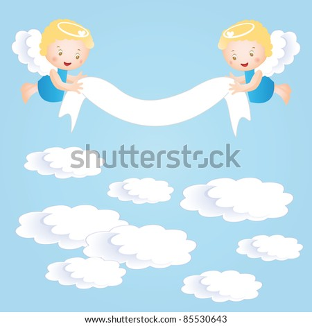 Baby baptism background with small angel