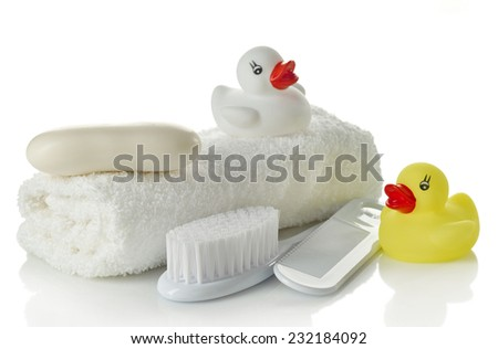 Baby bath accessories isolated on white background - stock photo