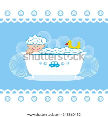 Baby bathroom illustration - stock photo
