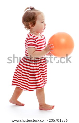 Baby bear pink ball in his hands.Isolated on white background.