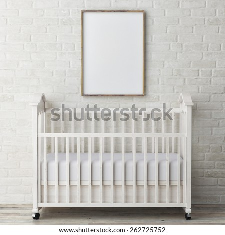 baby bed with mock up poster, 3d illustration - stock photo