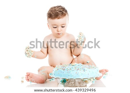 baby birthday boy with a smashed cake