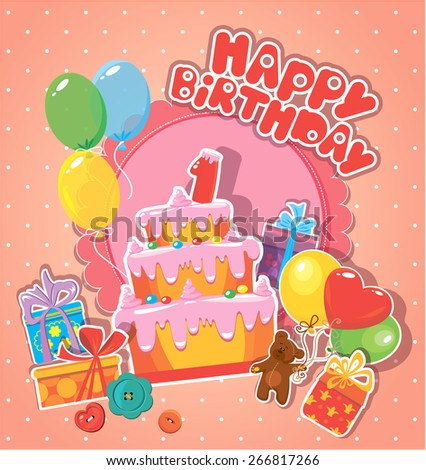 Baby birthday card with teddy bear, big cake and gift boxes. One year anniversary. Raster version - stock photo