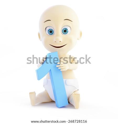 baby birthday one year on white background - stock photo