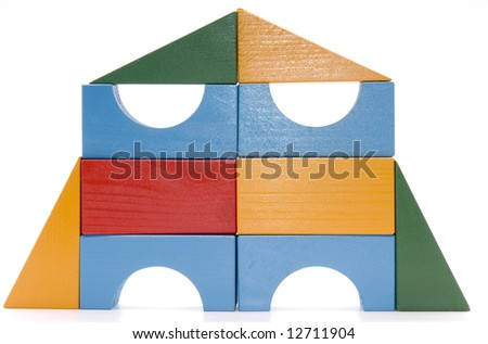 Baby blocks figure - wood color toys isolated - stock photo