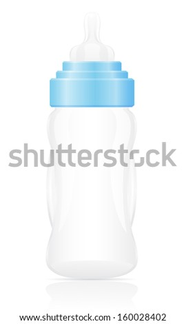 baby bottle blue illustration isolated on white background
