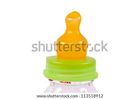 Baby bottle isolated on white - stock photo