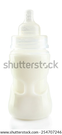 Baby bottle with milk isolated on white background