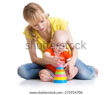 baby boy and his mother play together
