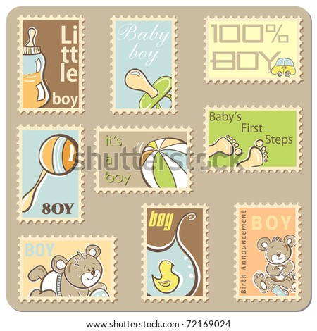 Baby boy announcement card - collection of postal stamps - vector version also available - stock photo