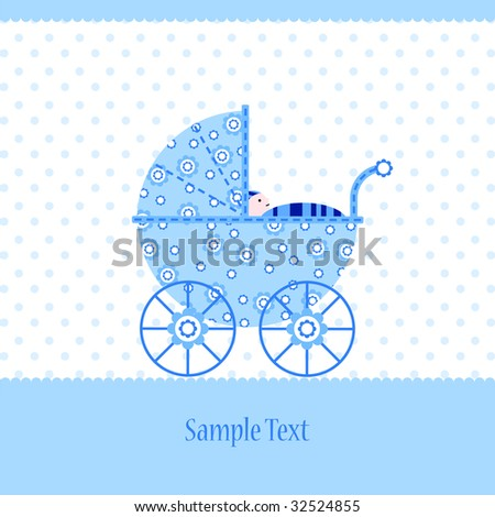 Baby boy arrival announcement card design - stock photo