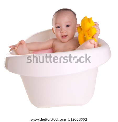 cute baby bath having stock photos images pictures shutterstock. Black Bedroom Furniture Sets. Home Design Ideas