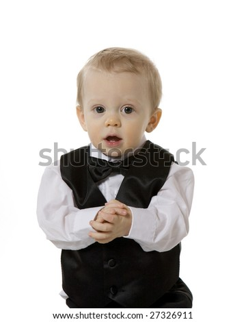 Baby Boy Dressed in Tuxedo - stock photo