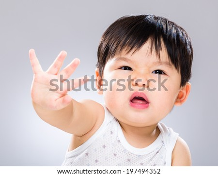 Baby boy get angry - stock photo