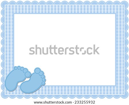 Baby BOY Gingham Frame-Gingham patterned frame with scalloped border designed in Baby themed colors with cute baby feet accents - stock photo