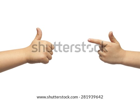 baby boy giving like and pointing, or gun gesture, on white background. Isolated. - stock photo