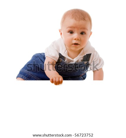 baby boy holding a message - stock photo