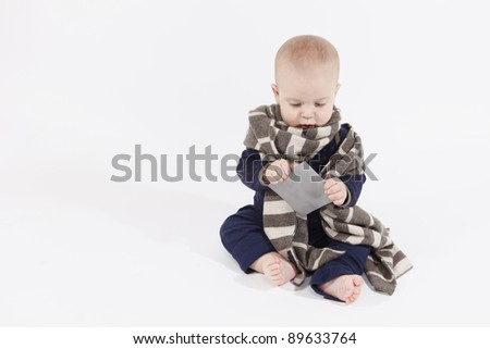 Baby boy in a scarf - stock photo