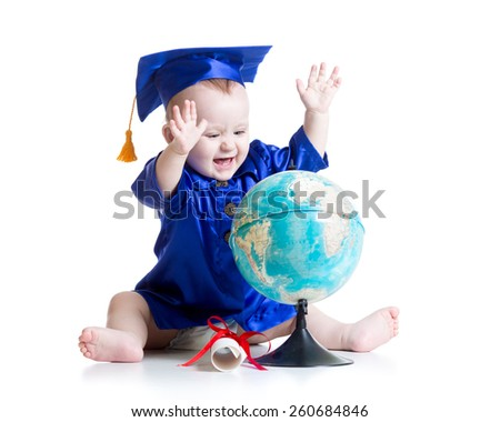 baby boy in academician clothes with globe isolated - stock photo