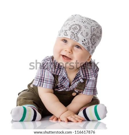 baby boy isolated - stock photo