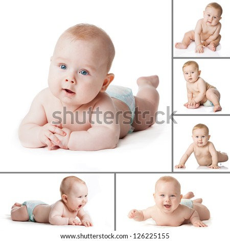 Baby Boy isolated. Collection  of a baby boy's. Newborn baby collage