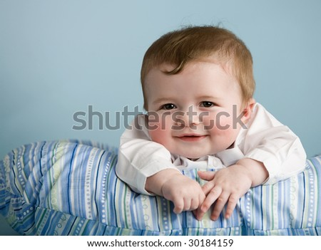 baby boy on pillow - stock photo