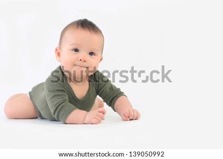 Baby Boy on stomach - stock photo