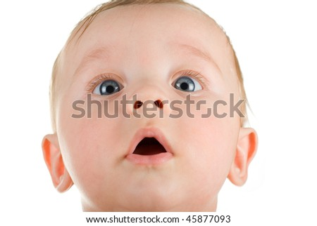 baby boy portrait closeup isolated on a white background - stock photo