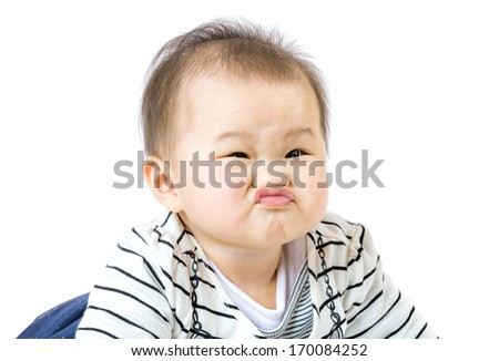 Baby boy purse lip - stock photo