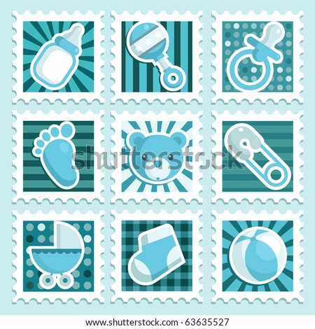 Baby boy stamps - stock photo