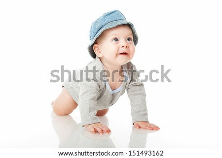 Baby boy studio shooting/ Isolated over white - stock photo