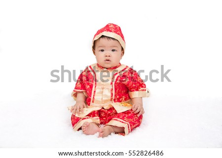 Baby boy wearing chinese cloth celebrate for new year
