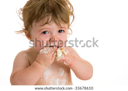 baby boy with cake - stock photo