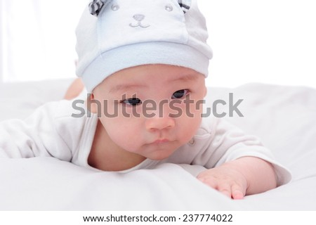 baby boy with hat isolated on white background - stock photo