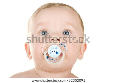 baby boy with pacifier isolated on a white background - stock photo